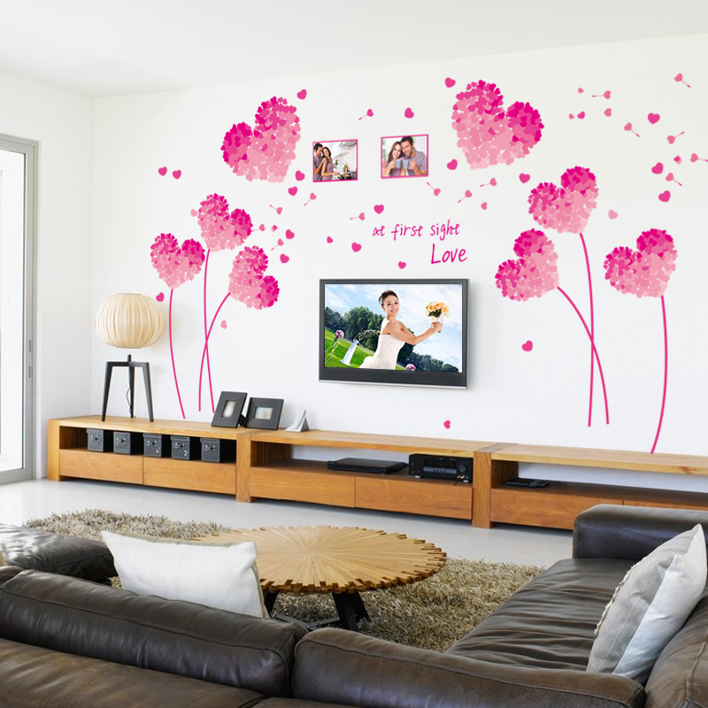 Fashion Red Love Heart Wall Decor Vintage Life Tree Sticker Home Valentines Day