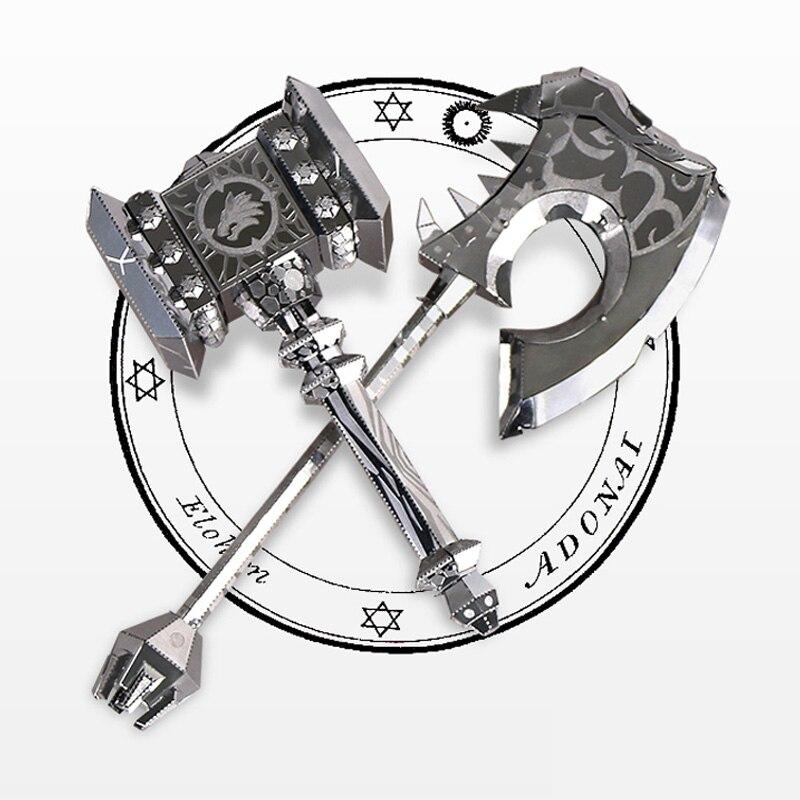 MU Doom ABYSS Battleaxe DIY 3D Metal Puzzle Assemble Model Kits Laser Cut Jigsaw Toys YM-N017AB
