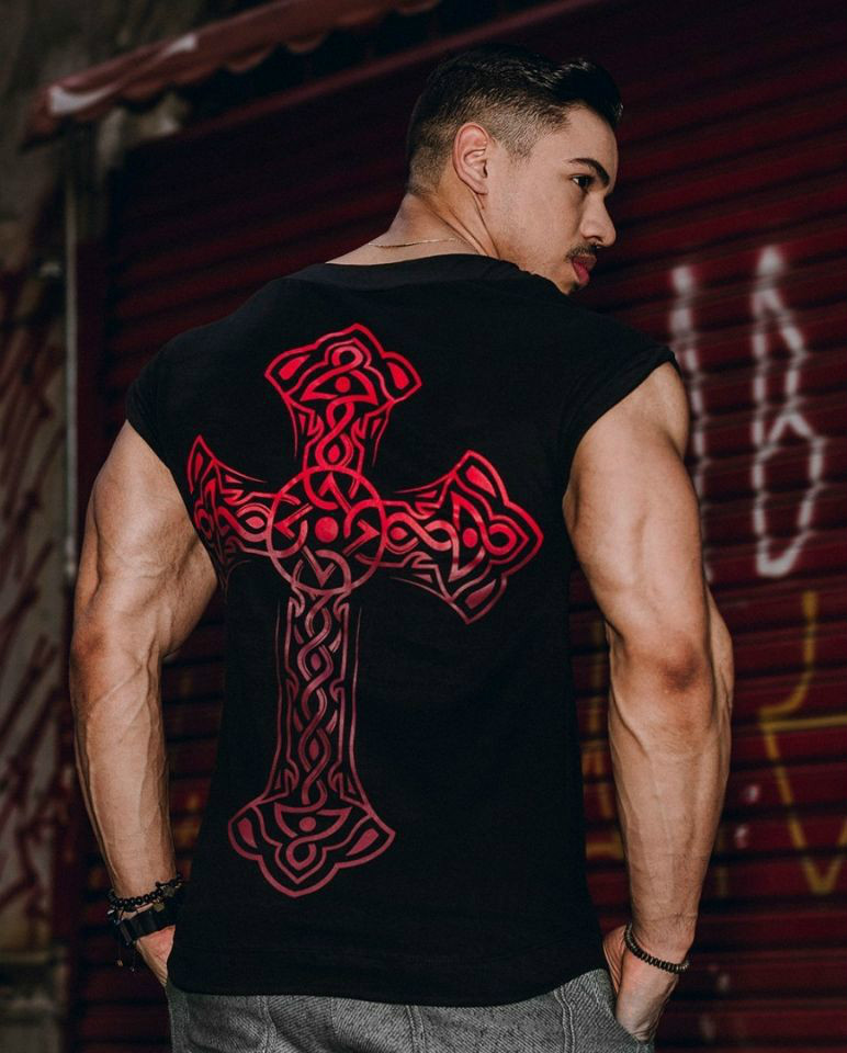 Cross Printing   Tank     Top   Men Undershirt Sleeveless shirt Summer Regatas Asculino Oversized Muscle Bodybuilding Vest Streetwear
