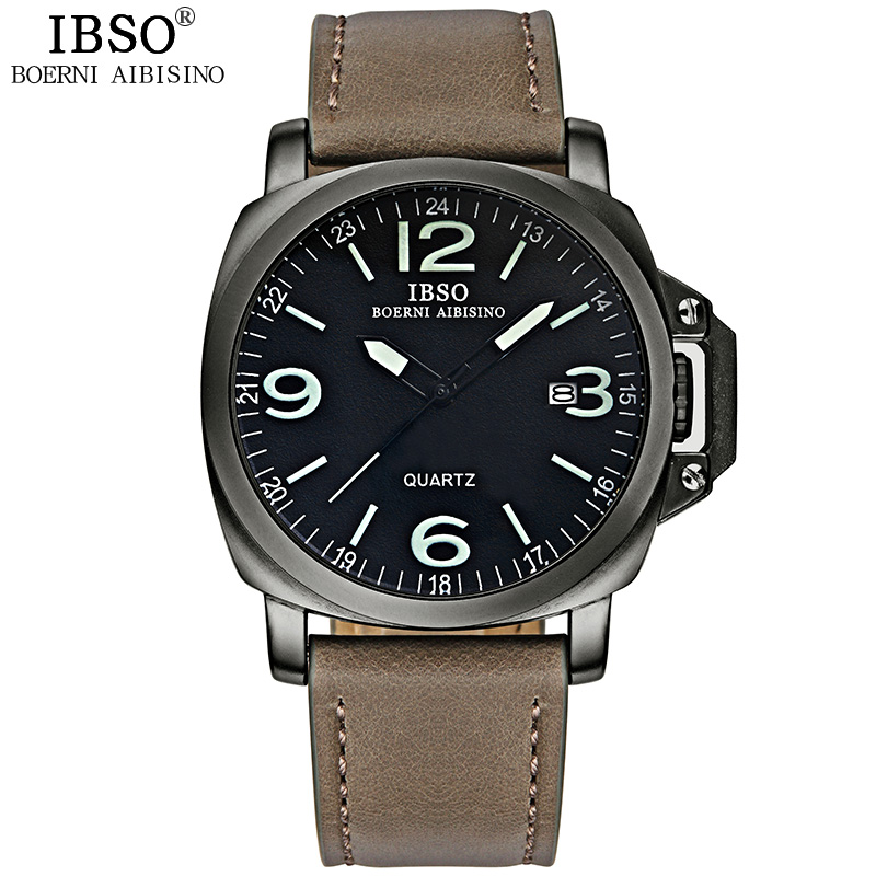 IBSO New Sports Watch Men High Quality Genuine Leather Strap Mens Watches Top Brand Luxury Quartz Wristwatch Relogio Masculino ibso outdoor leisure sports watches for men genuine leather band quartz mens watches 2018 fashion waterproof relogio masculino