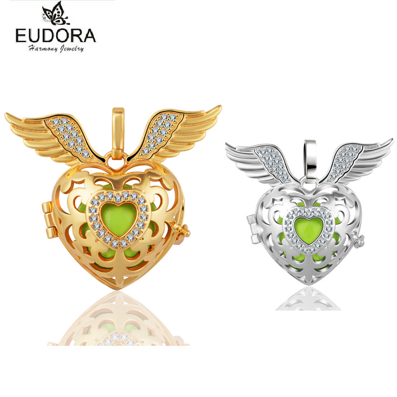 Hollow Out 18mm Angel Caller Pendant Crystal Diffuser Locket fit for Green Chime Ball Harmony Bola Angels Wing Pendants Jewelry