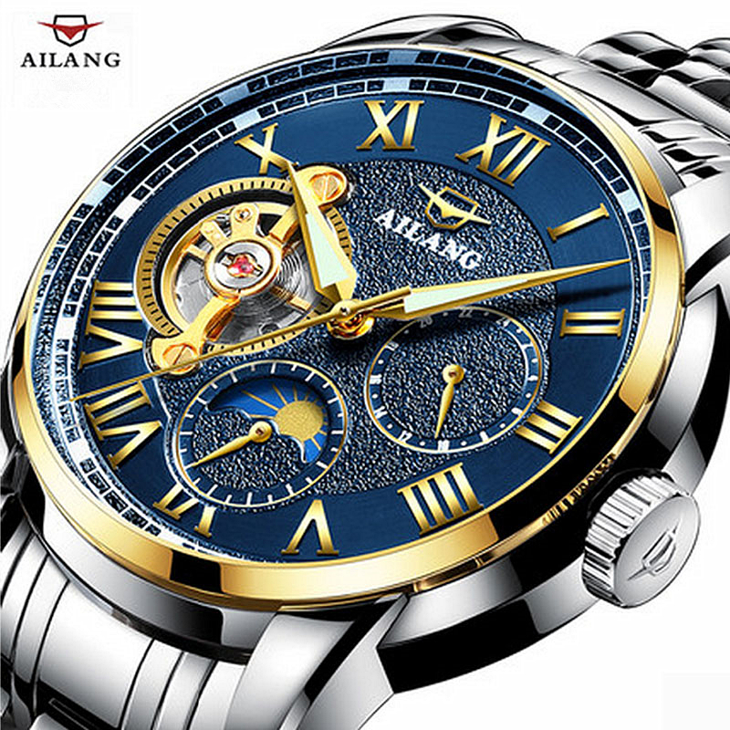 AILANG Casual Fashion Watch Men Waterproof Luxury Brand Moon Phase Mechanical Watches Relogio masculino Clock Gold Wristwatch