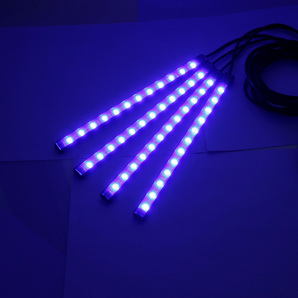 Auto car-styling 4x 12 LED Car Atmosphere RGB Phone App Music Control Strip Lights Interior Kitfeb07 car styling led car-detec