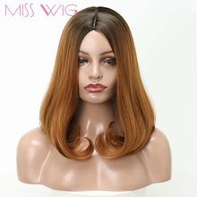 "MISS WIG Synthetic Ombre Blue Pink Blonde Black Short Bob Wig Hair for Women's 14"" Long Water Wave False Hair(China)"