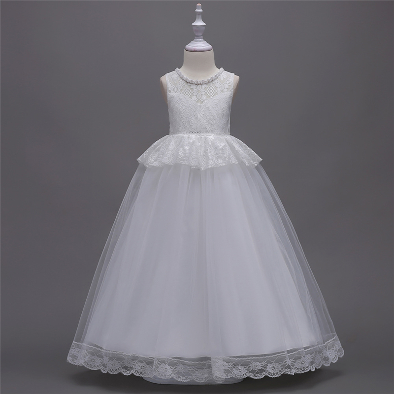 Teenage White Lace Dress Girls Party and Wedding Dresses Summer 2018 Kids Princess Pearl Long White Dress Children New Clothing 2 7y princess children girls white lace dress brand new long sleeve toddler kids elegant party dresses one pieces clothing