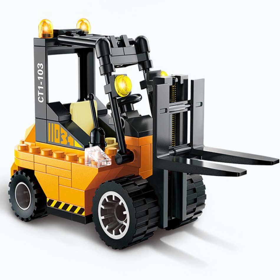 4 Set Forklift Roller Traktor Sweeper Truk Model DIY Blok Bangunan Angka Kompatibel Legoed Kota Konstruksi Mainan Anak