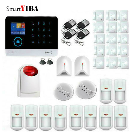 SmartYIBA WiFi GSM Smart Home Alarm System for House Security APP Control Wireless Smoke Detector Glass Break Sensor Alarm wireless gsm pstn home alarm system android ios app control glass vibration sensor co detector 8218g