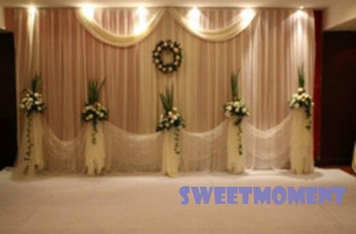 3x3 mt Hochzeit Drape für Hochzeitsdekoration kulisse und Vorhang mit Weiß Abnehmbarem Swag Freies verschiffen zu russland