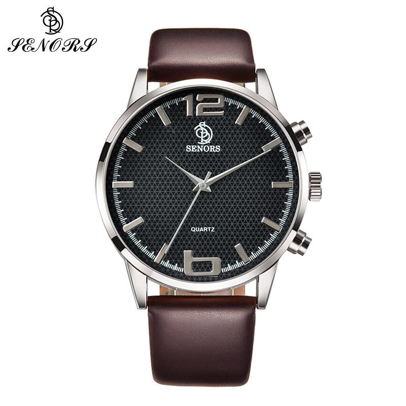 SENORS Brown Leather Black Dial Analog Wrist Watch Sports Watches Leather Mens senors серебряный