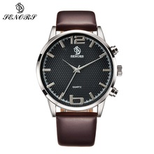 SENORS  Brown Leather Black Dial Analog Wrist Watch Sports Watches Mens
