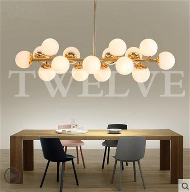 Molecular Lustres Chandelier Modern Magic Beans DNA Hanging Lights Nordic Art Globe Glass Shade Dinning Room Industrial Lamps