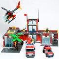 Súper Grandes Bloques de Construcción de Helicópteros de la Estación de Bomberos 774 Unids/Ladrillos Educativos Juguetes/de Aprendizaje DIY Niños Juguetes Regalos de Navidad