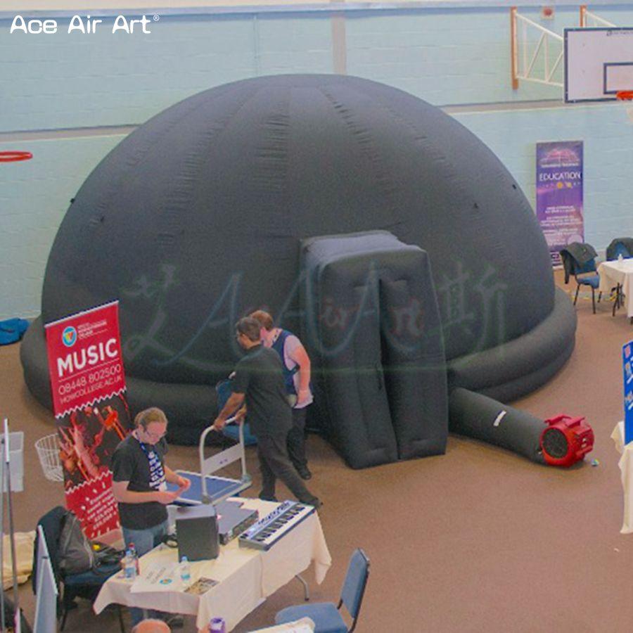 Personalizado Preto pop up tela de projeção planetário, dinossauro cúpula tenda tenda com 2 anéis no ginásio e feiras temáticas