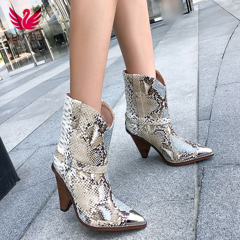 2019 Spring Autumn Chic Leather Ankle Boots Women Metal Pointed Toe Tassel Strange High Heel Boots Woman Fashion Western Boots in Ankle Boots from Shoes