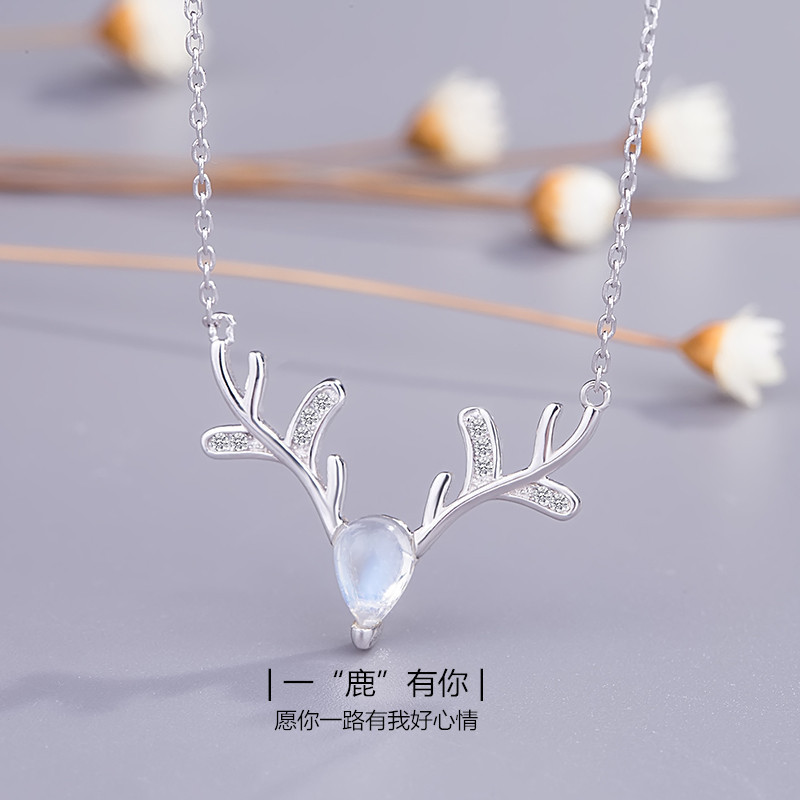 CBO45 925 silver moonstone necklace elk pendant female Korean version of the simple clavicle chain