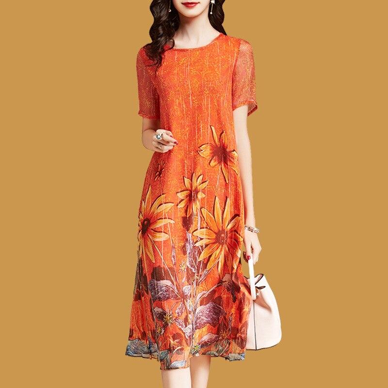 Elegant Floral Dress For Woman Loose Short Sleeve Vestido Mujer 2018 Casual Mid-Calf Faux Silk Dresses Plus Size Orange Sundress