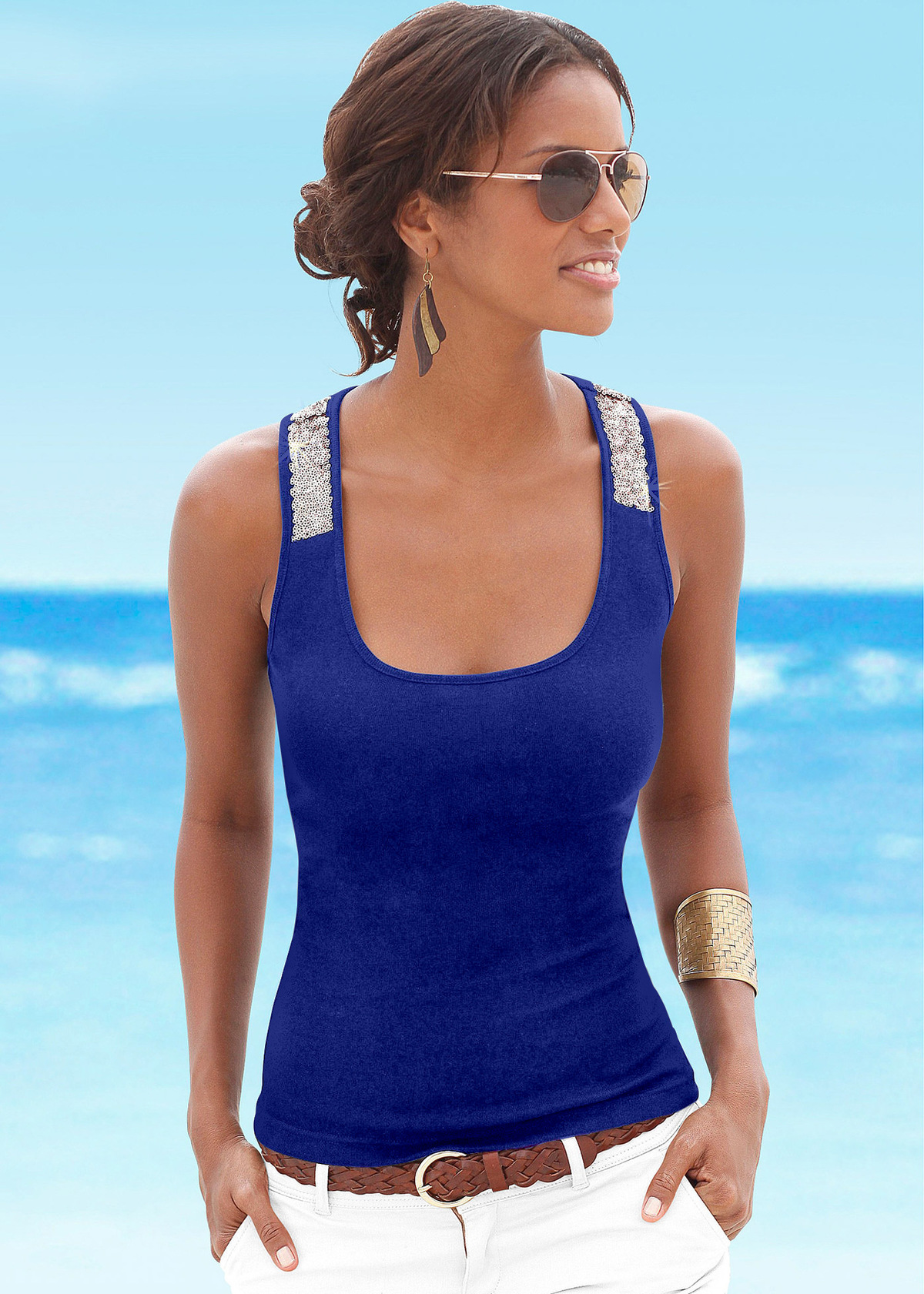 2018 Summer For Women T Shirt Sequin Sleeveless Loose Tank Top Bandage Casual Tops Camisole Tunic