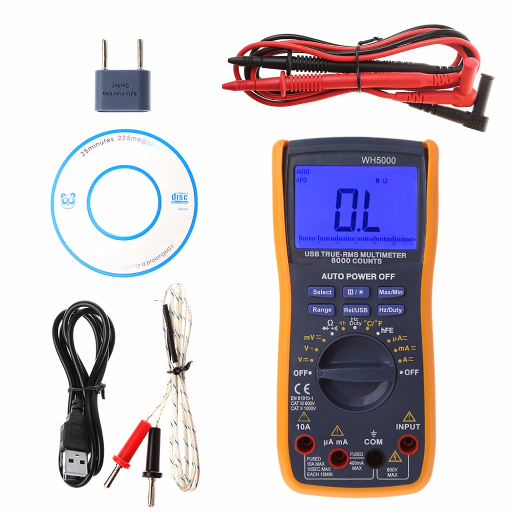 ANENG New 1 Set New Digital Multimeter 6000 Counts Auto Ranging Voltage Current Testers LCD Display 8A30026 excel dt9205a 3 lcd digital multimeter black orange 1 x 6f22