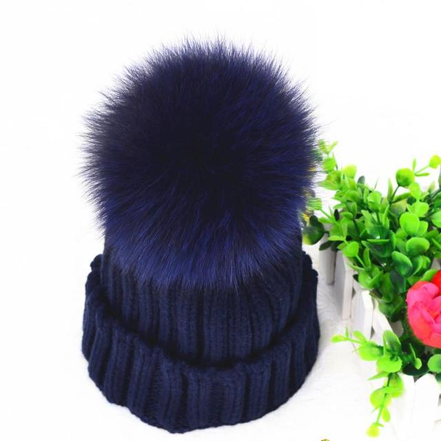 Real Mink Fur Pom Poms Winter Hat For Women Girl's Genuine Fox Fur Pompom Knitted Beanie Thick Raccoon Fur Pompon Ball Wool Hat