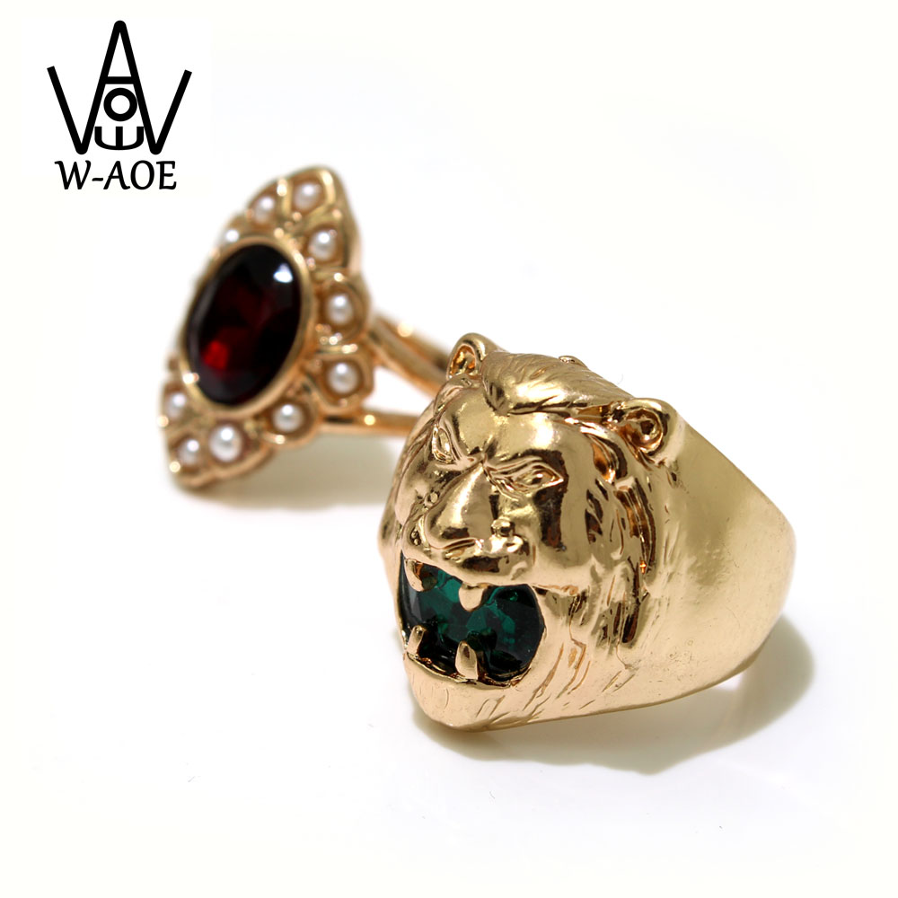 2бр. / Комплект 2019 Модна бижутерия Златен Цвят Зелен Циркон Лъв Животински пръстени За Жени Момиче Моден Червен Кристален Сватбен Подарък Подарък