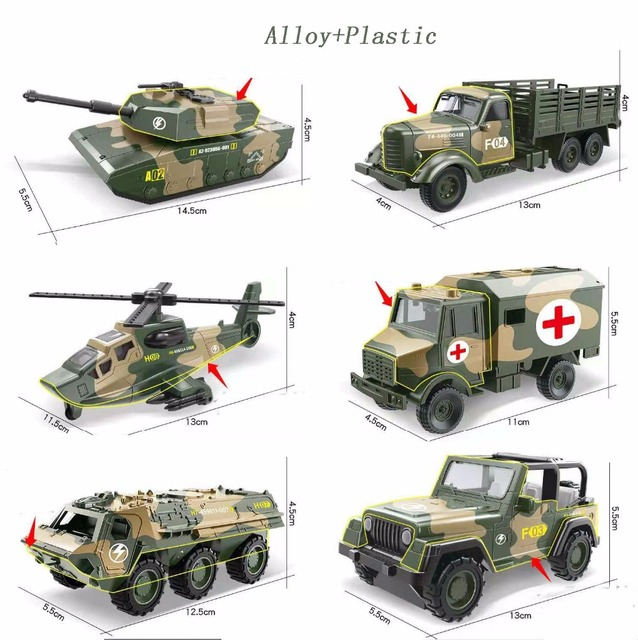 Military Alloy Toy Armored Vehicle Tank Helicopter  Car Sliding Mini Colorful Metal Car for Baby Kids Gift