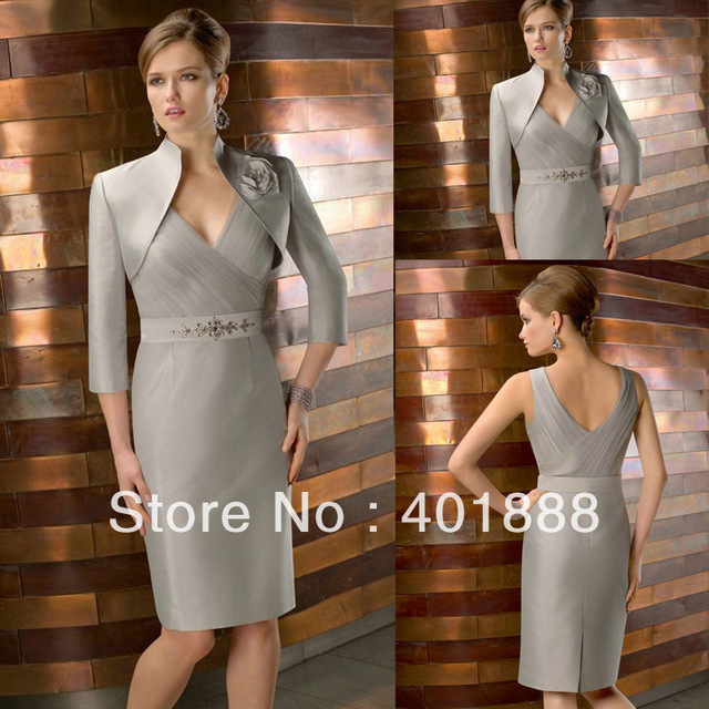 6f2e40c5acef Sexy Formal Free Jacket Knee Length V-neck Beaded Plus Size Mother Of The  Bride