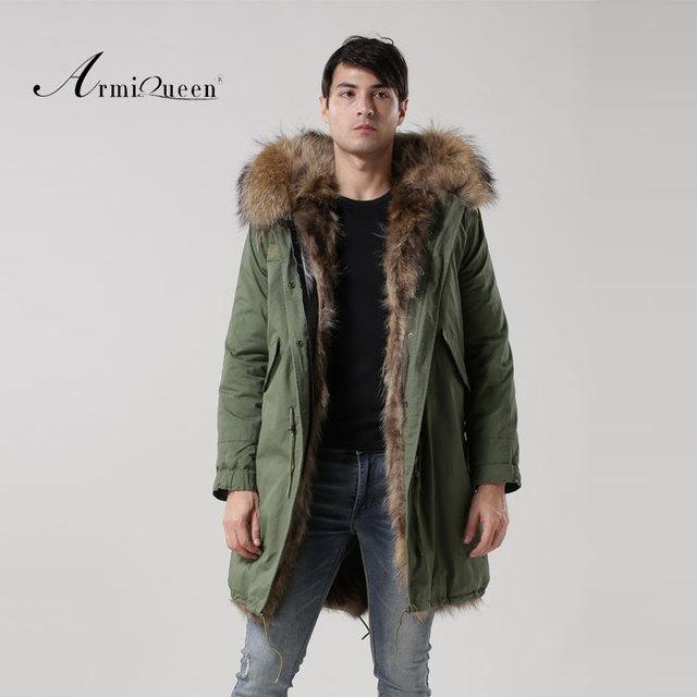 2016 Real Fox fur Male thick warm winter Windproof coat Green Shell coat raccoon dog fur collar coat