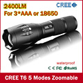 Ultra Bright 5 Modes led flashlight 2400 Lumen Zoomable CREE XML T6 LED 18650 Flashlight Focus Torch Zoom Lamp Light