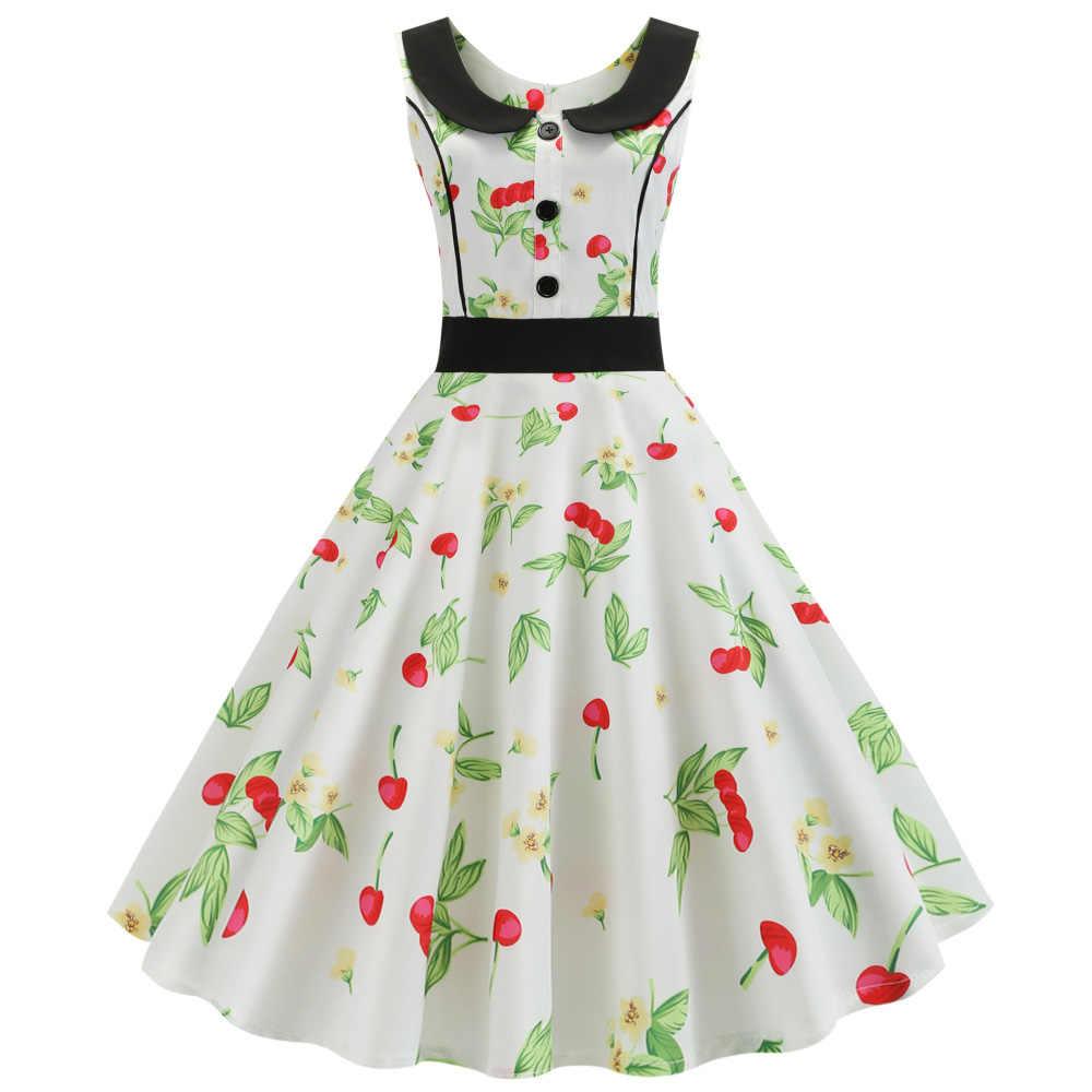 Kenancy Одри Хепберн 60 s женское ретро платье Питер Пэн воротник без рукавов Летнее винтажное платье Клетчатый плед цветочный Vestidos новинка