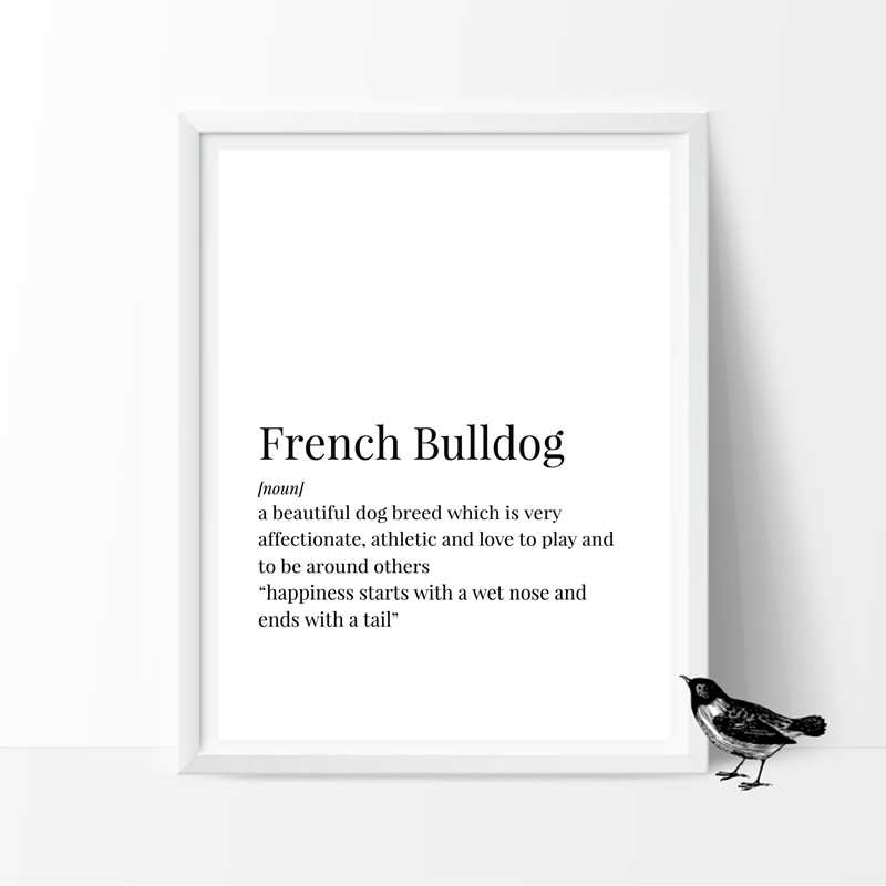 French Bulldog Definition Canvas Posters Print English Bulldog & American  Bulldog Quotes Painting Pictures Home Wall Art Decor