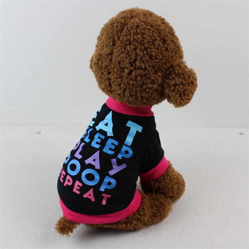 Qualidade Carta Cor Pet Cat Dog Clothes Shirt COMA o SONO JOGAR COCÔ REAPEAT Imprimir Pequeno Filhote de Cachorro Traje Casaco Gatinho Roupas colete