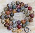 """Free shipping! fashion DIY jewelry 10  Multicolor Picasso Jasper Round Jasper s Necklace 18""""      JT6639"""