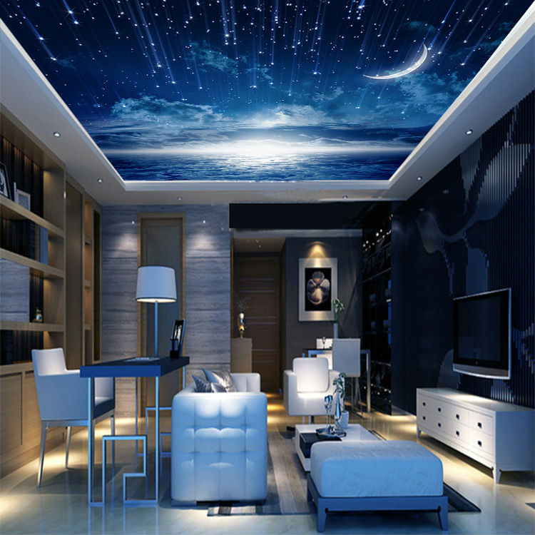 Marvelous Galaxy Wallpaper 3D View Photo Wallpaper Bedroom Ceiling Room Decor Starry  Night Murals Club Living Room Charming Moon Meteor In Wallpapers From Home  ... Part 20
