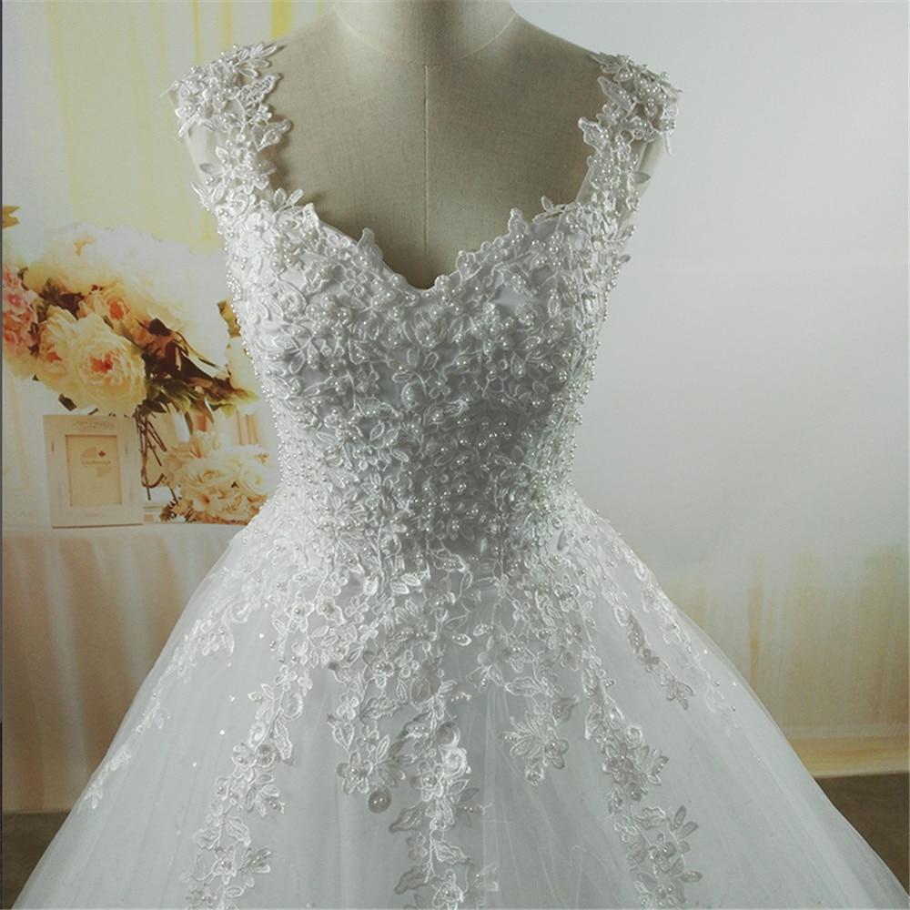 ZJ9076 New White Ivory Crystal Pearl Lace kāzu kleitas 2017 līgavas - Kāzu kleitas - Foto 6