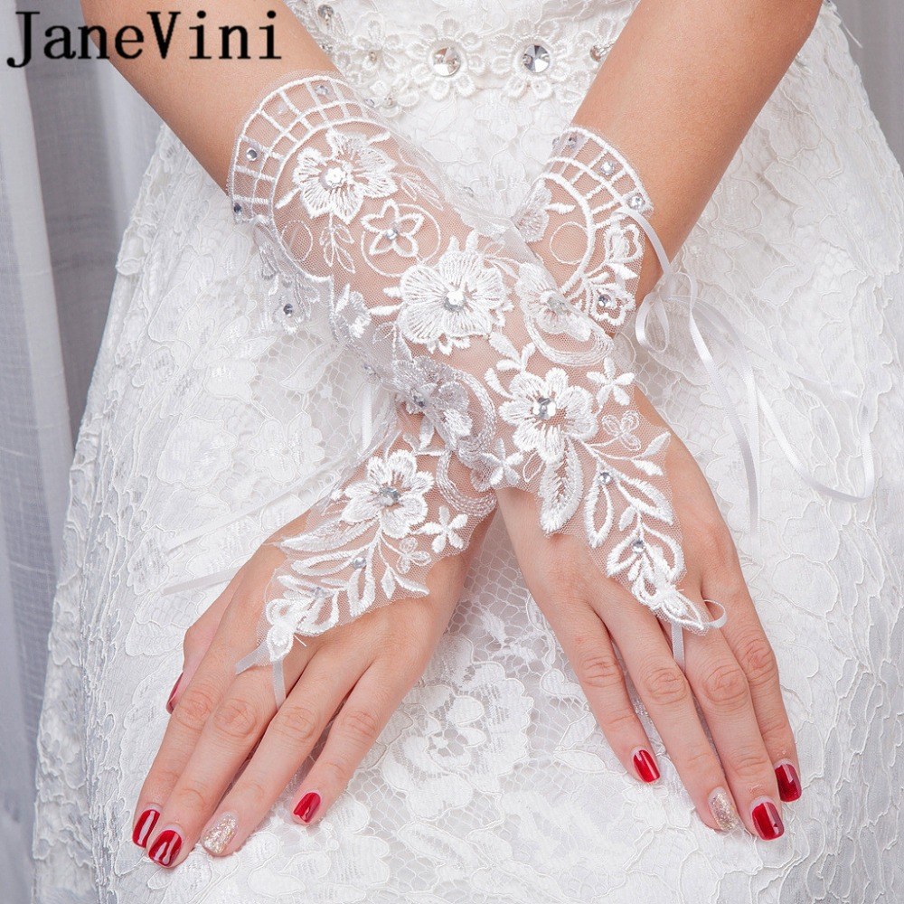 Bridal Gloves Pearls Beaded White Bridal Lace Wrist Gloves Fingerless Rings Back Lace Up Wedding Gloves Robe Mariage Femme Blanche G36