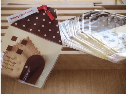 11*15+3cm brown house self adhesive plastic food bags Biscuit chocolate candy soap poly packaging bags