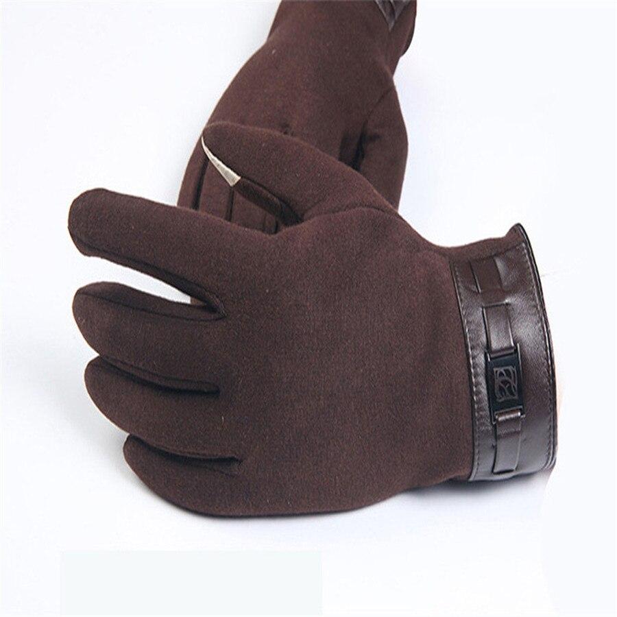 Winter Mens Full Finger Smartphone Touch Screen Cashmere Gloves Mittens Outdoor Sport Mountain Bike Riding Gloves