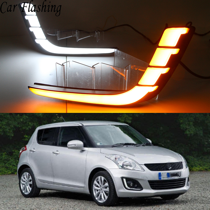 Car Flashing 1 Set Car LED DRL Daytime Running Lights For Suzuki Swift 2014 2015 2016 with Yellow Turning Signal fog lamp cover-in Car Light Assembly from Automobiles & Motorcycles    1