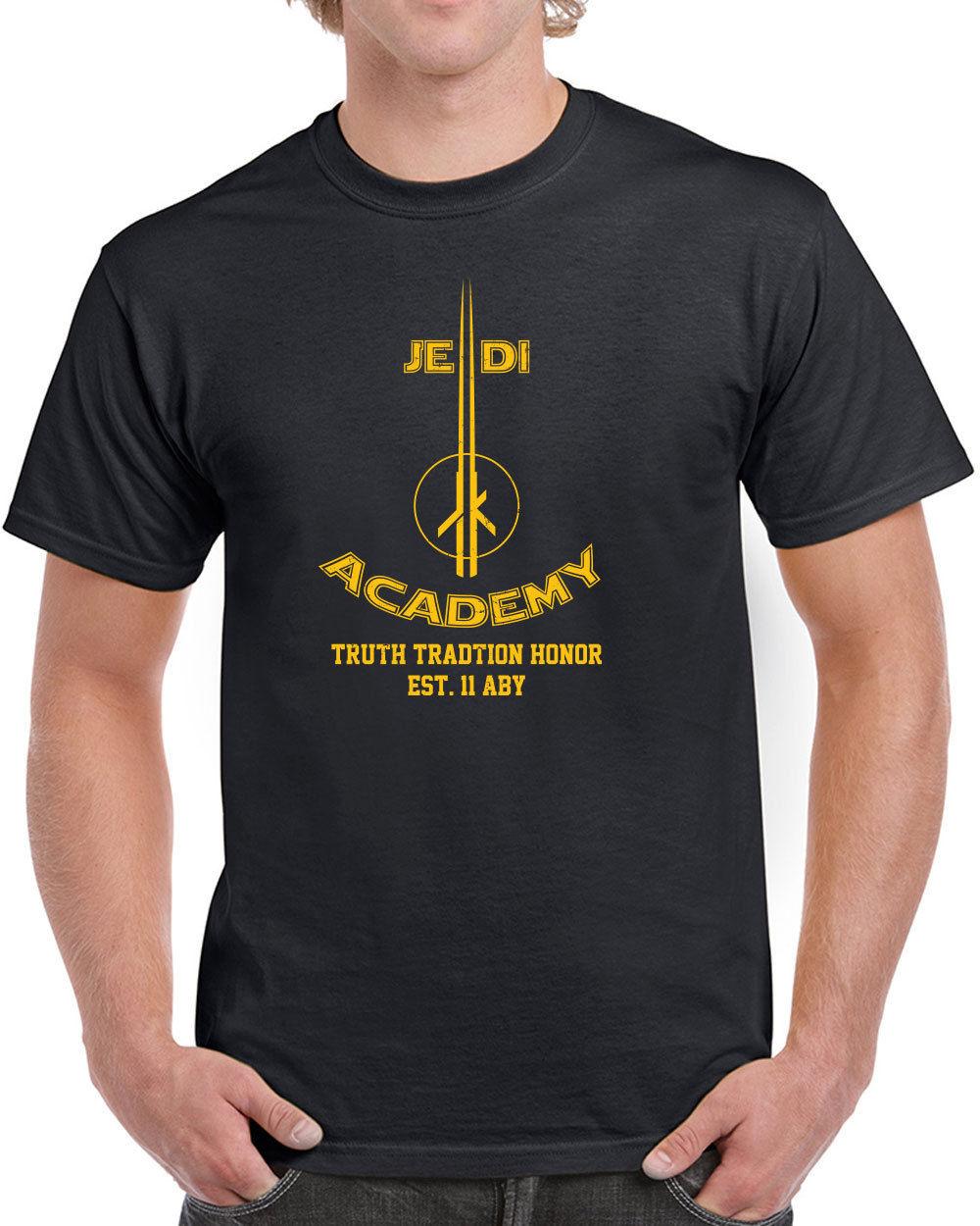 055 Jedi Academy mens t-shirt funny geek star lightsaber wars nerdy costume Tops Men T Shirt