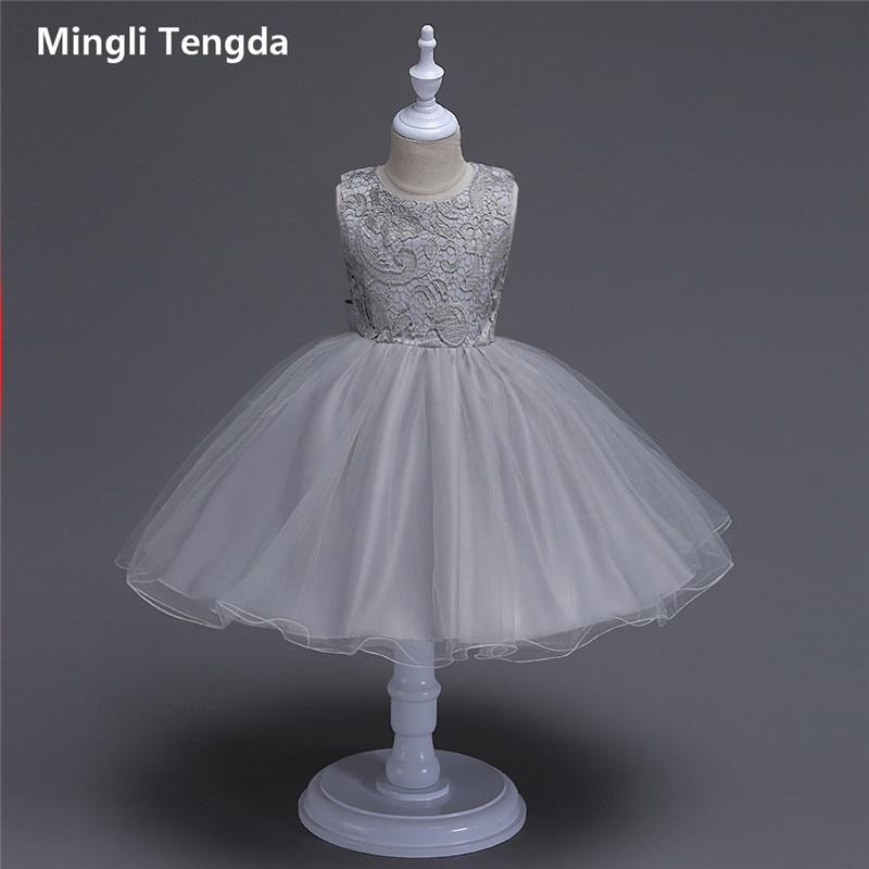 Flower     Girl     Dresses   for Weddings Long Champagne   Flower     Girl     Dresses   Bow   Girl     Dress   Wedding O-Neck Sleeveless Lace Mingli Tengda
