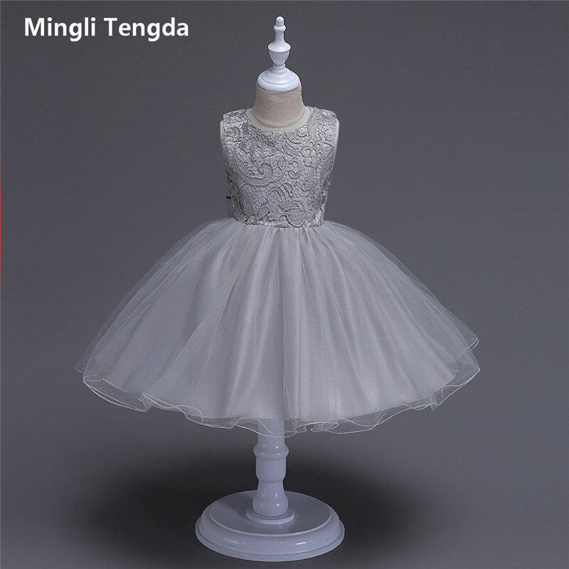 Robes de fille de fleur pour les mariages longues robes de fille de fleur de Champagne arc robe de mariage o-cou sans manches en dentelle Mingli Tengda