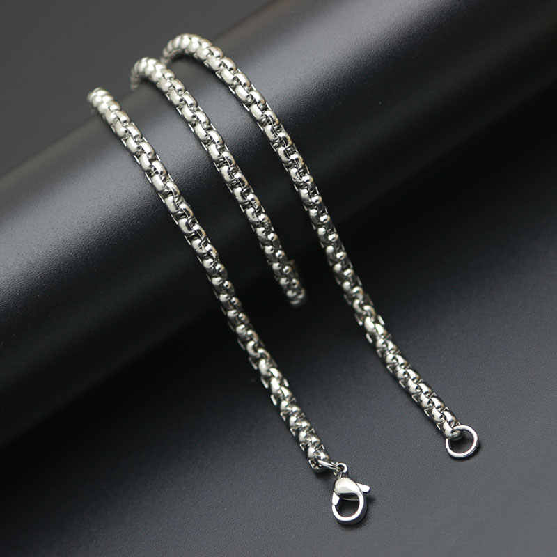 Promotion Price Men Women Silver Chain 2.5mm 3mm 4mm Stainless Steel box Necklace Chain For women men locket pendant