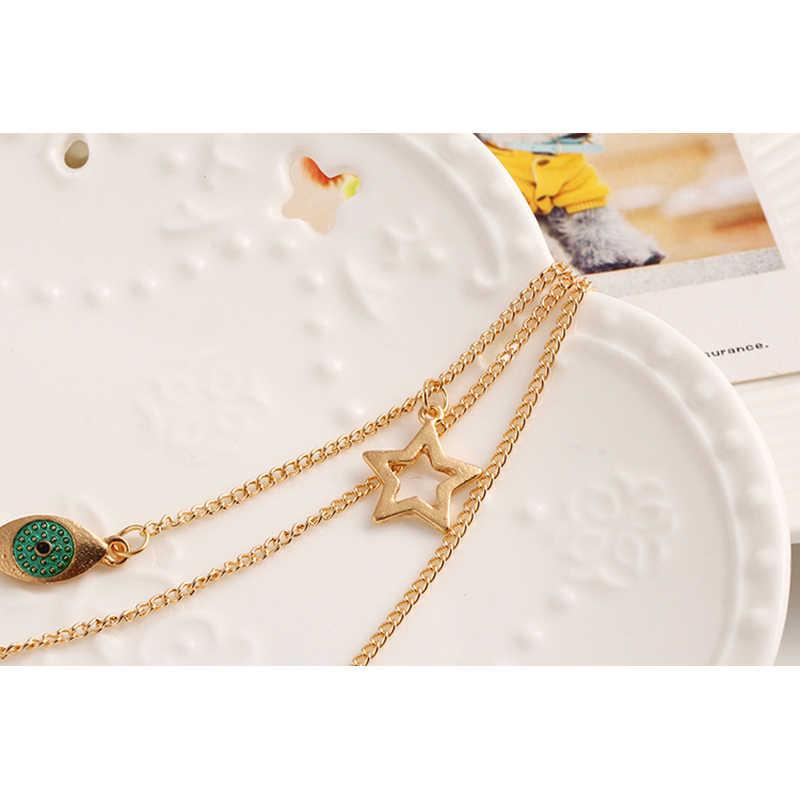 すきヴィンテージグリーンクリスタルアイペンダント多層ネックレス女性のファッションゴールドロング六角形のペンダントクロスネックレスジュエリー