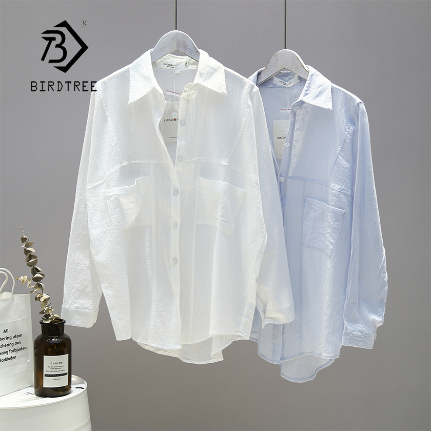 New Arrival Women Solid Thin Oversize White Blouse Batwing Sleeve Pockets Long Shirt Turn-Down Collar Casual Top T96606F
