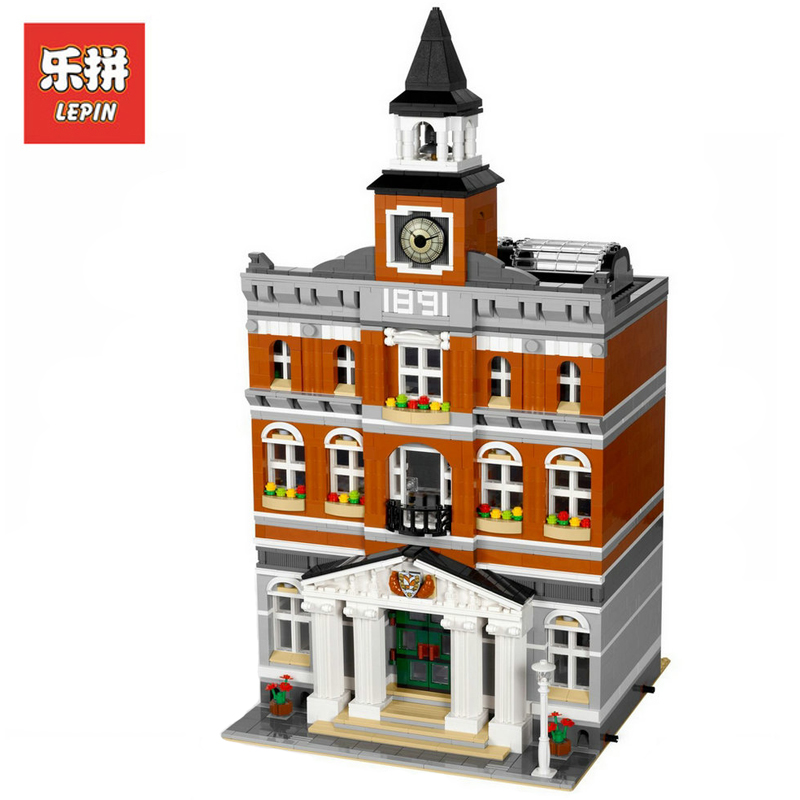 In Stock DHL Lepin Sets 15003 2859Pcs City Street Figures The topwn hall Model Building Kits Blocks Bricks Educational Toy 10224 lepin15003 2859pcs city series the town hall model building kits blocks kid toy gift compatible with 10224