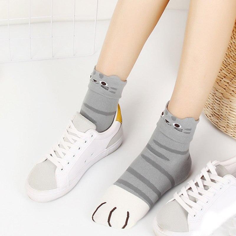 SALE 1 Pairs Cartoon Cat Animal Paw Girls   Socks   3D Animal Ears 100% Cotton Women Medium Tube Winter Warm   Sock