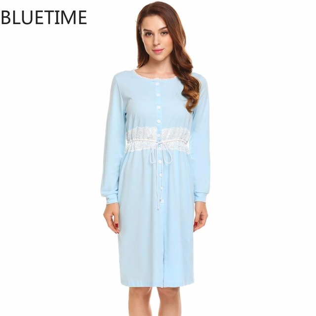 Long Nightgown Sleepshirt Plus Size Sleepwear Lace Autumn Lounge