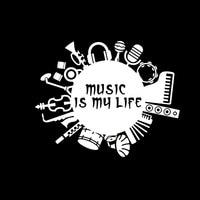 black silver 15.8CM*12.6CM Music Is My Life Inscription Guitar Drum Contrabass Design Vinyl Black/Silver Car Sticker Decal (1)