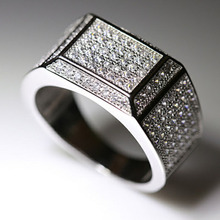 RE New Design AAA Zircon Ring For Men Male Metal Plated Thumb Rings Gifts Husband Boyfriend