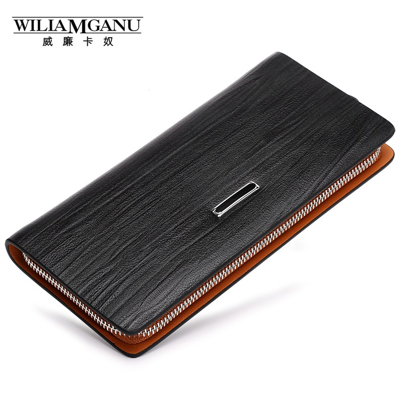 WILIAMGANU Genuine Cowhide Leather Men Wallets Fashion Purse With Card Holder Business Travel Long Wallet Clutch Wrist Bag QB082 2017 new cowhide genuine leather men wallets fashion purse with card holder hight quality vintage short wallet clutch wrist bag
